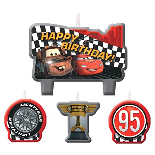 Cars Birthday Candles, 4 Count, Party Supplies (Cars Molded Candle)