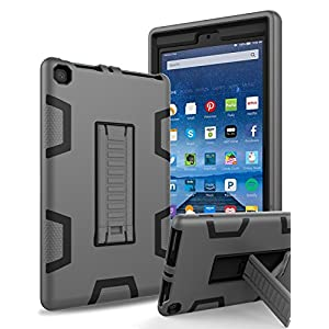 """All-New Amazon Kindle Fire HD 8 (2017 7th Generation),Topsky Three Layer Armor Defender Full Body Protective Case Cover For Amazon Kindle Fire HD 8"""",Grey/Black"""