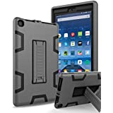 "All-New Amazon Kindle Fire HD 8 (2017 7th Generation),Topsky Three Layer Armor Defender Full Body Protective Case Cover For Amazon Kindle Fire HD 8"",Grey/Black"