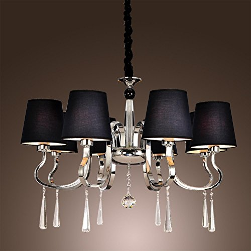 LightInTheBox Black Polish Style Chic Mordern LED Candle Chandelier Kitchen Ceiling lights Fixtures for Living Dining Room Bedroom Hallway Entry 8 lights Lamp by LightInTheBox