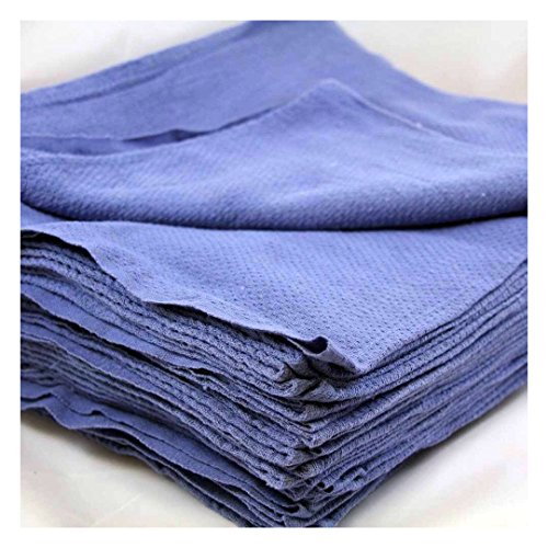 24 Pieces-NEW BLUE GLASS CLEANING SHOP TOWELS/HUCK/ SURGICAL/ DETAILING TOWELS CLEANING TOWELS from Unknown