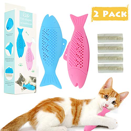 gelugee Cat Catnip Toys for Cat Playing Chewing Teeth Cleaning – Cat Interactive Toys Refillable Catnip Pet Supplies for…