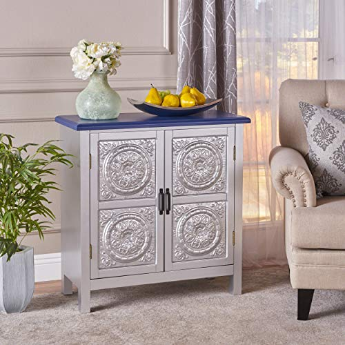 - Aliana Silver Finished Firwood Cabinet with Faux Wood Overlay and Navy Blue Top