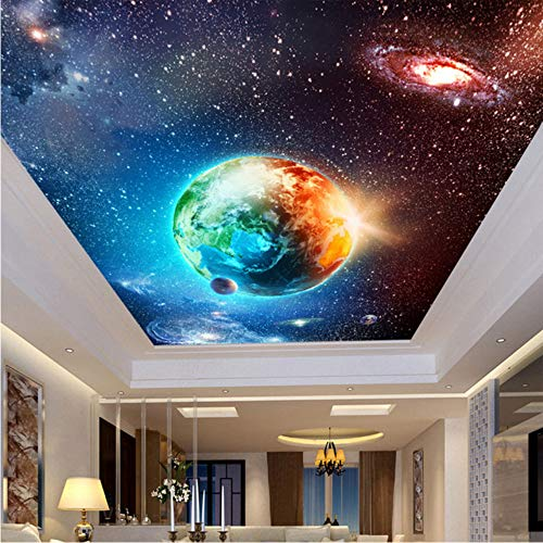 xbwy Large Custom Mural Wallpaper Ceiling Zenith Continental Hotel Bar Ktv Clubs Ceiling Wallpaper Cool Starry Sky Earth Photo Murals-120X100Cm