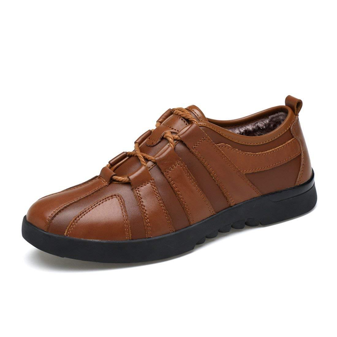 Fur Lined Brown Qiusa Boy's Men's Lace-up Tie Cap-Toe Outdoor Walking shoes (color   Black, Size   7.5 UK)