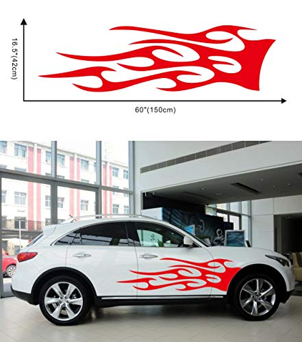 Ocamo 1 Pair Car Truck Totem Flame Graphics Label Side Vinyl Body Sticker Cool Waterproof Auto Sticker red