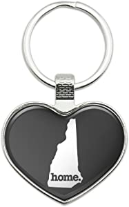 New Hampshire NH Home State Solid Dark Gray Grey Officially Licensed Keychain Heart Love Metal Key Chain Ring