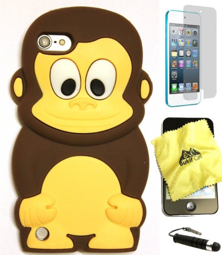 Brown Ipod Touch (Bukit Cell ® BROWN 3D MONKEY Soft Silicone Skin Case Cover for iPod Touch 5 5G 5th Generation + BUKIT CELL Trademark Lint Cleaning Cloth + Screen Protector + METALLIC Touch Screen STYLUS PEN with Anti Dust Plug [bundle - 4 items: case, cloth, stylus pen and screen protector])