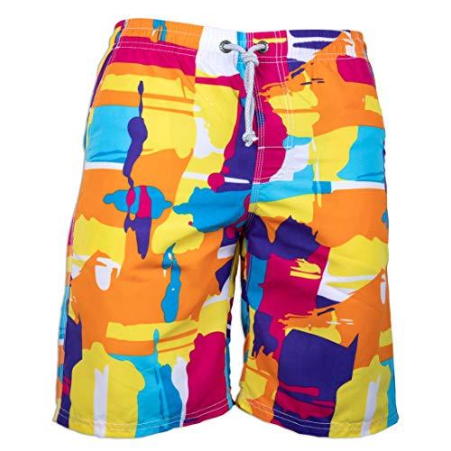 Prefer To Life Mens Board Shorts Colorful Printed Swimwear Quick Dry Water Park Beachwear Sports Swim Bermuda Surfing Pants No Mesh (XL Size-Graffiti Yellow) ()