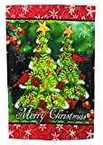 """Winter Garden Flag Christmas Decoration; Cardinals and Christmas Trees; """"Merry Christmas"""" message readable both sides; 12 inches by 18 inches For Sale"""