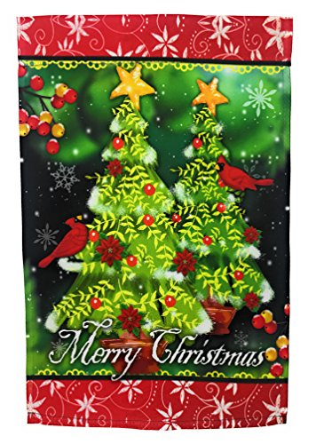 Winter Garden Flag Christmas Decoration; Cardinals and Christmas Trees; Merry Christmas Message readable Both Sides; 12 inches by 18 inches