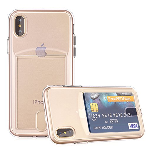 OBVIS for iPhone Xs Max Slim Fit Clear TPU Gel Shockproof Case Cover for iPhone Xs Max with Card Holder ()