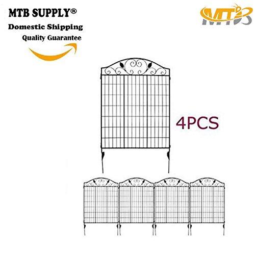 MTB Black Steel Decorative Fence Panel 2 Leaves, Metal Garden Border Folding Fences 44'H36'W (Pkg of 4, linear length 12 feet)