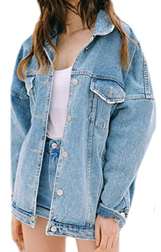 Ebind Womens Casual All-match Faded Boyfriend Denim Jackets Light blue S (Womens Jacket Jimmy)