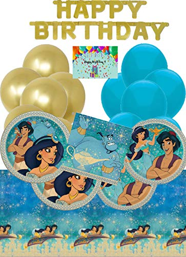 Princess Jasmine and Aladdin Birthday Party Supplies and Decorations Pack For 16 With Gold Banner, Balloons, Tablecloth, Plates, Napkins and Birthday Card by JPMD