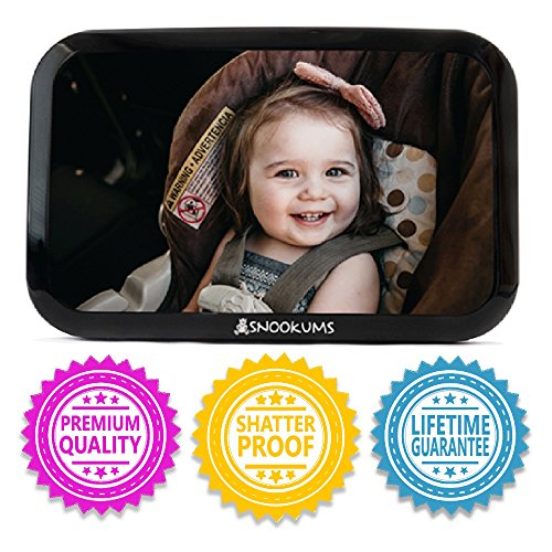 Infant Rear Facing Car Seat Cover - Baby Mirror for Car - Safely Monitor Infant Child in Rear Facing Car Seat - Wide View Shatterproof Adjustable Acrylic 360°for Backseat - Best Newborn Car Seat Accessories - by Snookums