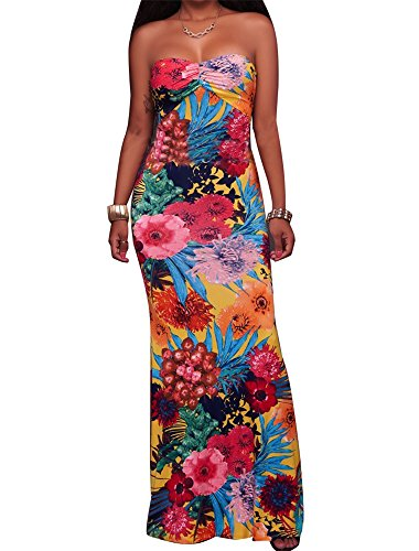 Price comparison product image CutieLove Womens Summer Casual Sexy Floral Print Bandeau Strapless Open Back Beach Party Long Maxi Dress, Medium, Yellow