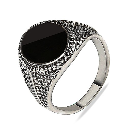 Agate Round Ring (S925 Sterling silver plated vintage patterns sided Black Round onyx agate women band ring,Size 7)