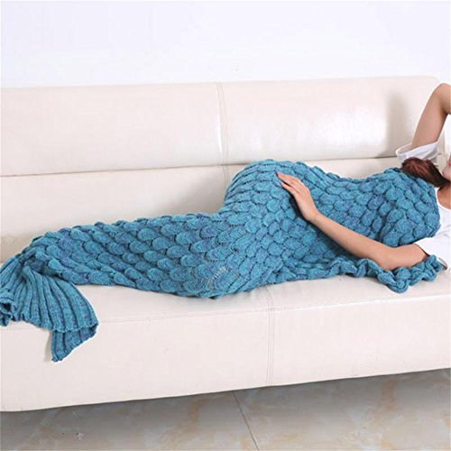 Feiuruhf Handmade Mermaid Tail Blanket Soft Sofa Blanket for Adult (lake blue)