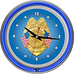 Police Officer Chrome Double Ring Neon Clock, 14