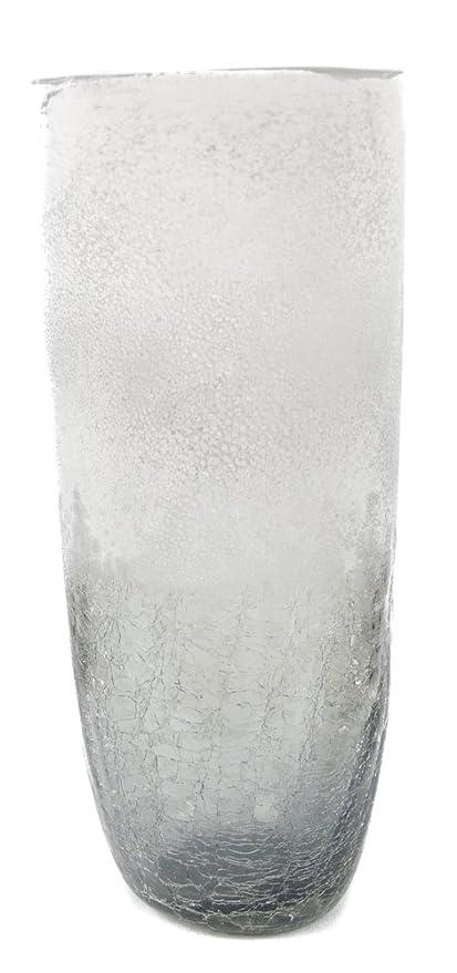 30cm Grey Smoked Cracked Temple Jar Glass Vase Amazon