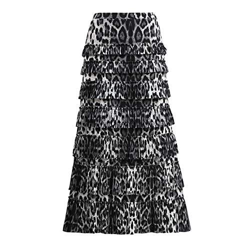 GATHY Women's 7 Tiered Boho Layered Pleated Ruffles Waterfall Maxi Skirt (Small, - Tiered Leopard