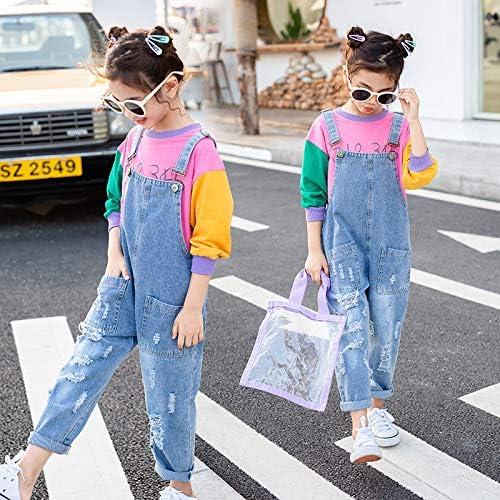 Yao 3-12Years Girls Jumpsuit/&Rompers Big Kid Bib Overalls Blue Adjustable Belts Denim Color Changeable Sequin Pants