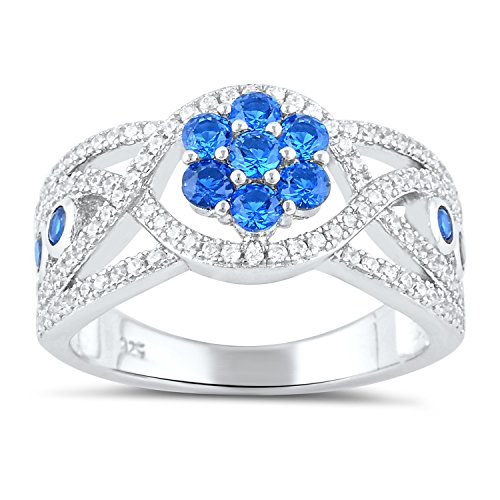 Sterling Silver Simulated Blue Sapphire Flower Ring Size 5-9