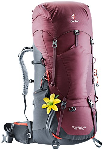 (Deuter Aircontact Lite 60+10 SL Backpacking Pack, Maroon-Graphite)