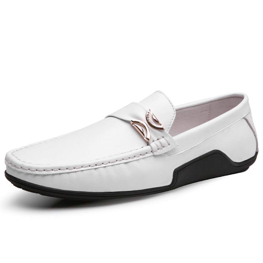 Fashion Driving Loafer for Men Casual Oxfords with Metal Buckle Flat Dress shoes Comfortable Penny Slip-on Boat shoes Leather Upper Men's Boots (color   White, Size   8.5 UK)
