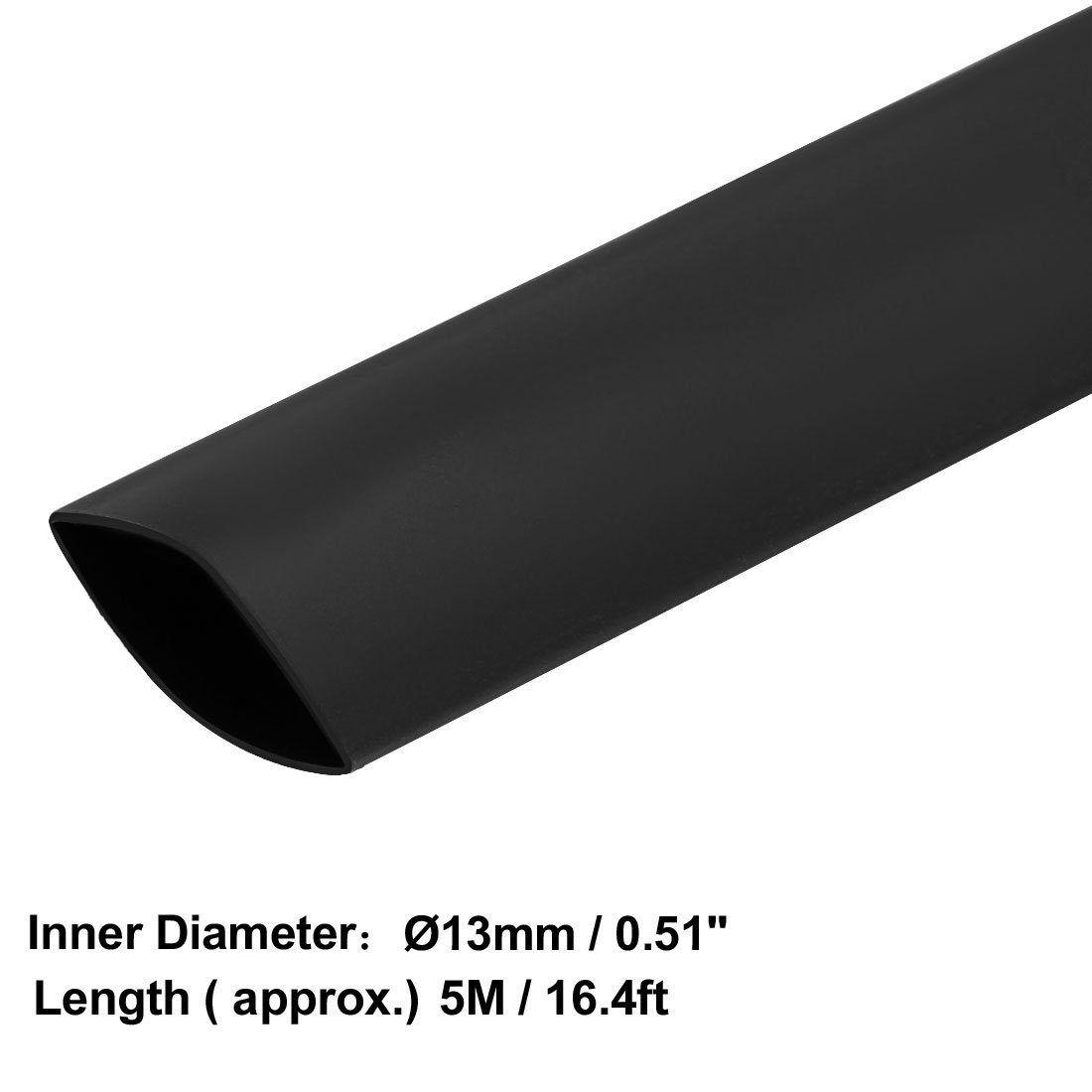 uxcell/® Heat Shrink Tube 2:1 Electrical Insulation Tube Wire Cable Tubing Sleeving Wrap Black 13mm Diameter 10m Length