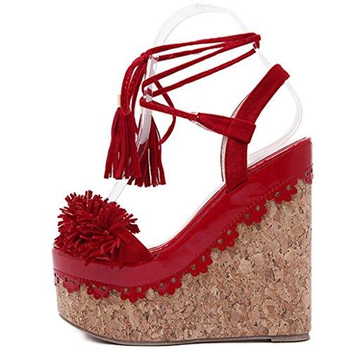 Banquet Flowers Heels red Quality Women Ladies Lh Waterproof Sandals Tassel Platform High Platform Waterproof Sandals Fashion High Straps yu Muffled 38 Party Wedding wxan4nH8