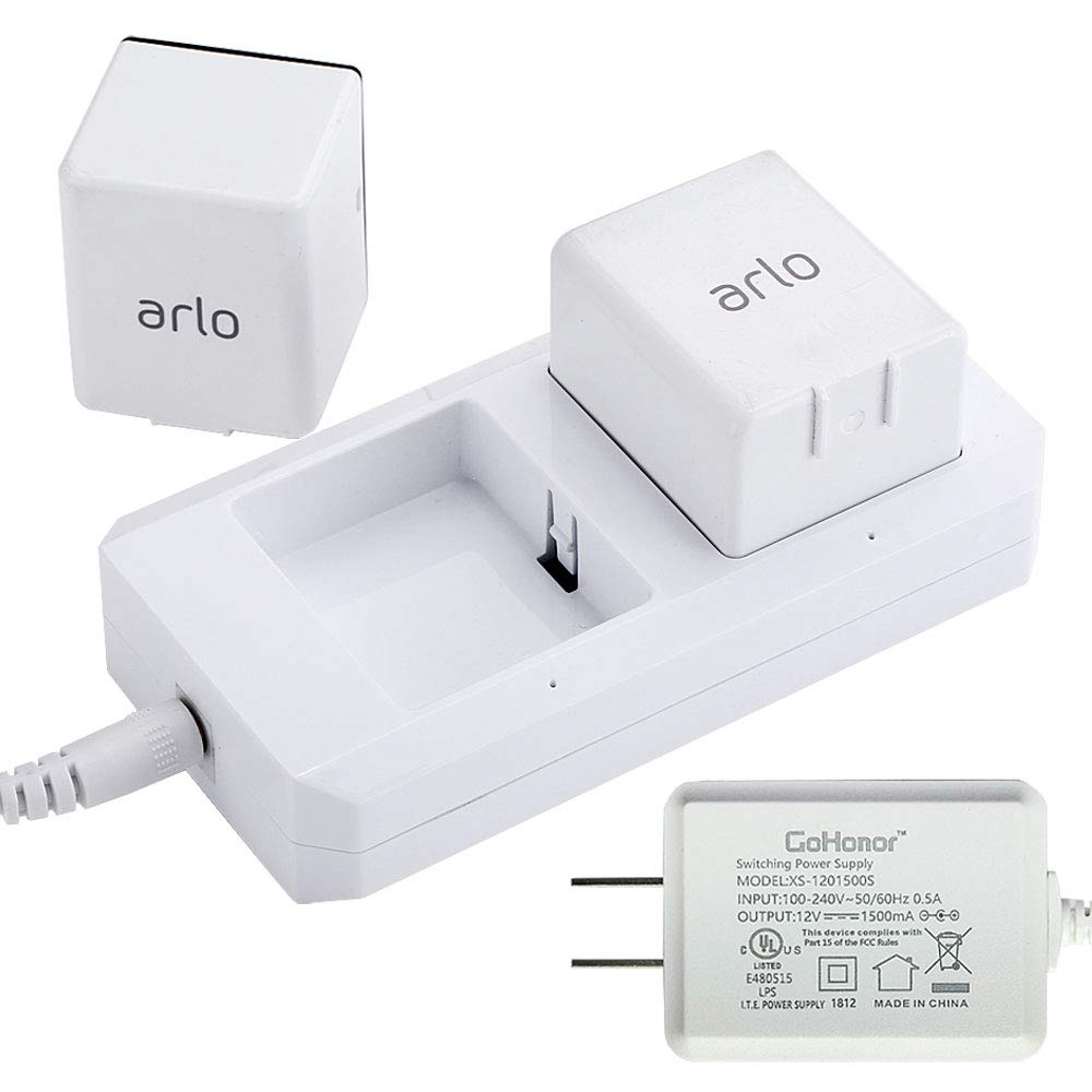 GoHonor 充電ステーション 互換 Netgear Arlo 充電式バッテリー Arlo Pro & Arlo Pro 2 & Arlo Go & Arlo セキュリティライトバッテリー VMA4410 耐火素材 アダプター FCC & UL認定   B07JCW8XVD