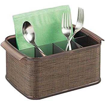 mDesign Plastic Cutlery Storage Organizer Caddy Tote Bin with Handles for Kitchen Cabinet or Pantry - Holds Forks, Knives, Spoons, Napkins - Indoor or ...