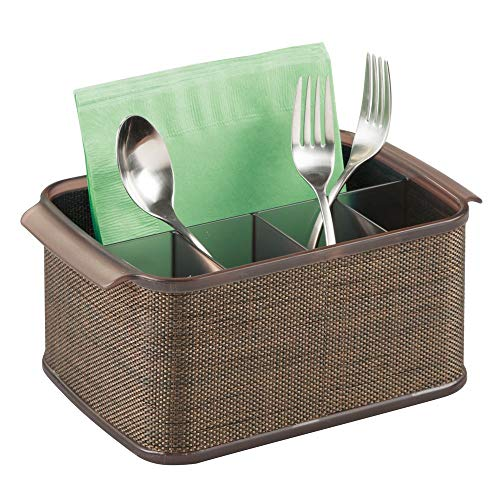 (mDesign Plastic Cutlery Storage Organizer Caddy Tote Bin with Handles for Kitchen Cabinet or Pantry - Holds Forks, Knives, Spoons, Napkins - Indoor or Outdoor Use, Woven Accent - Bronze/Sand Brown)