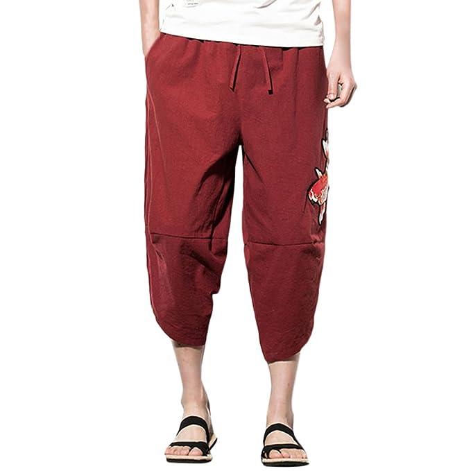 Zhhlinyuan Hombre y Mujer Harem harén Hippie Boho Aladdin Yoga Pantalones Mens Womens Wide Leg Linen Baggy Yoga Pants… FUzfgFhze