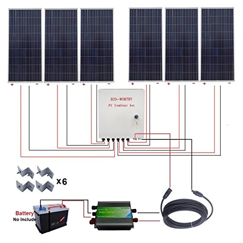 ECO-WORTHY-1000W-1KW-Off-Grid-Solar-Power-System-6pcs-160W-Poly-Solar-Panels45A-Charge-ControllerMC4-Solar-CableSolar-Combiner-BoxSolar-Panel-Mounting-Brackets