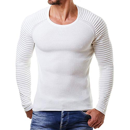 Helisopus Men's Stretch Solid Pullover Knitted Sweaters Slim Fit O-Neck Long Sleeve Casual Crewneck Sweater