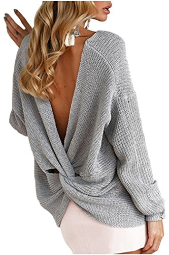 Baggy Crop (Kumer Women's Off Shoulder Sweater V Neck Long Sleeve Tops Sexy Backless Knit Pullover,One Size,Grey)