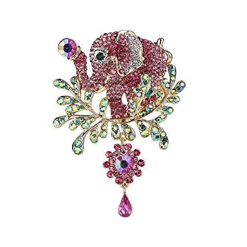 EVER FAITH Women's Austrian Crystal Adorable Animal Elephant Teardrop Brooch Pink Gold-Tone