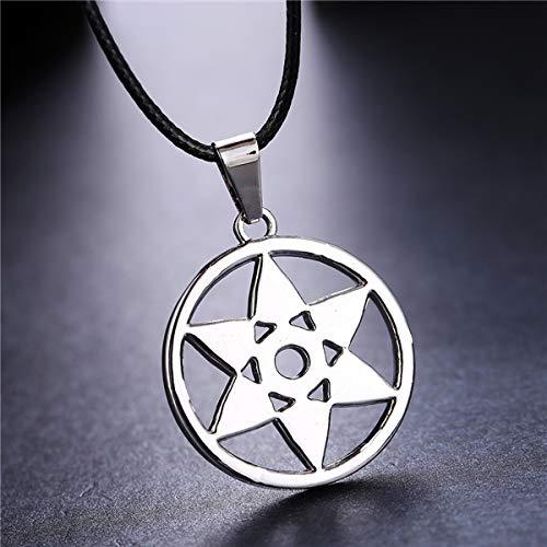Algol - MOSU 20/pcs lot Anime Naruto Silver Necklace Uchiha Sasuke Mangekyou Sharingan Pendant Cosplay Toy Jewelry can