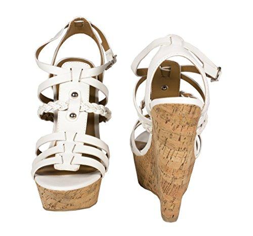 Deilig Kvinners Ryggrad Titte Tå Strappy Plattformen Hælkilen Sandal Med Forstropp I Hvitt Lær