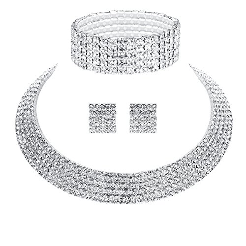 mecresh Wedding Bridal 5 Row Rhinestone Crystal Jewellery Sets for Women (1 Set Earrings,1 PCS Necklace, 1 PCS Bracelet)