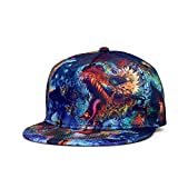 SUPERCB Unisex's Cap Snapback Adjustable Hat Plain Baseball 3D Print Hip Hop Animal Dragon