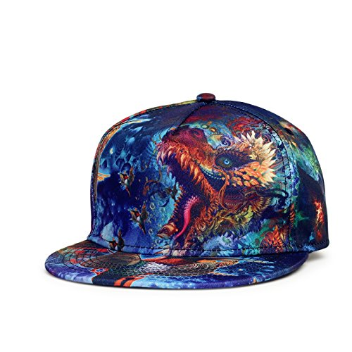 SUPERCB Unisex's Cap Snapback Adjustable Hat Plain Baseball 3D Print Hip Hop Animal Dragon by SUPERCB