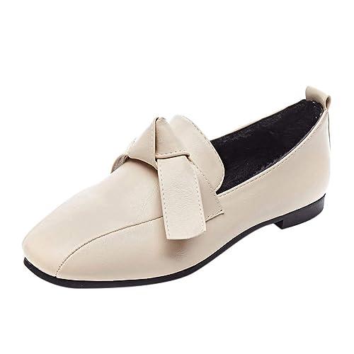 Zapatillas Moda Mocasines Slip-On Moda Retro Mujeres Bow Pumps Plataforma Cabeza Cuadrada Zapatos TacóN Bajo Guisantes: Amazon.es: Zapatos y complementos