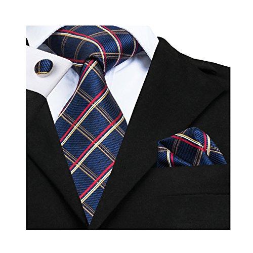 Blue Check Tie Silk Red Stripe Necktie Set Woven Hanky Cufflinks Formal Business (Set Cufflinks Necktie Stripes)