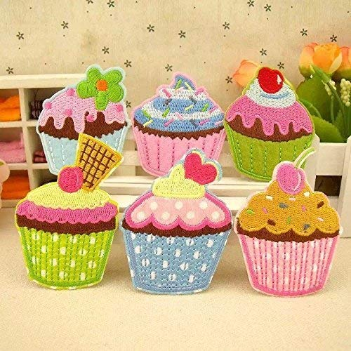 The Bestdeal 6PCS Cupcake Design Iron on Patches for Kid's Hat,Cloth and Shoes ()