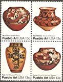 USA Collectible Postage Stamps: American Folk Art Series: Pueblo Pottery Issue. Block of Four.
