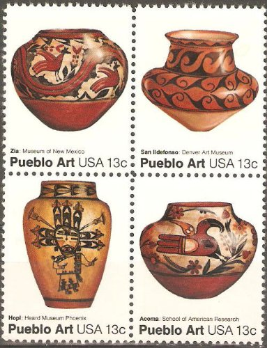 USA Collectible Postage Stamps: American Folk Art Series: Pueblo Pottery Issue. Block of (Pueblo Series)